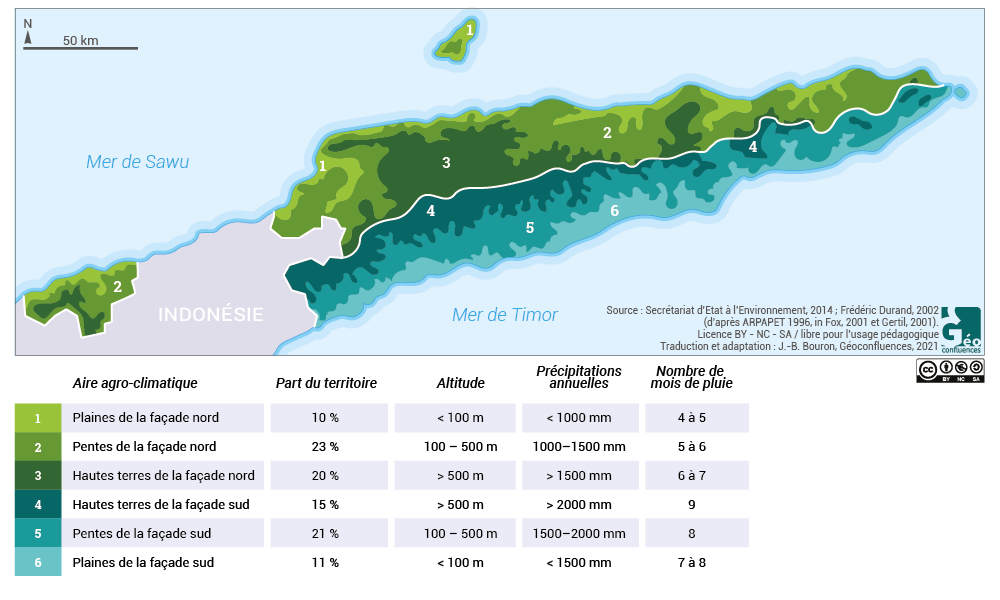 Climat Timor oriental mois de pluie carte