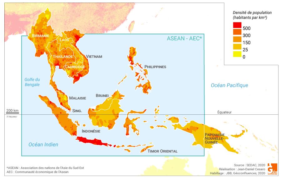 Jean-Daniel Cesaro - carte densité de population asie du sud est