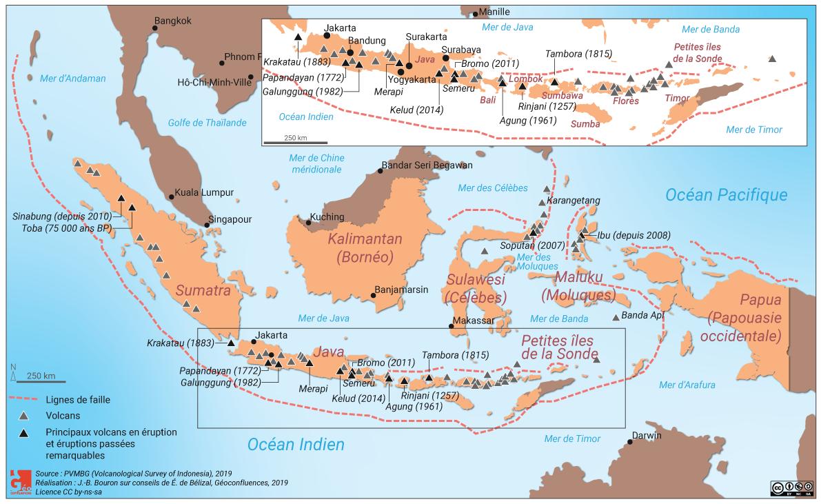 Carte volcans en Indonésie, risque volcanique, failles, asie du sud est