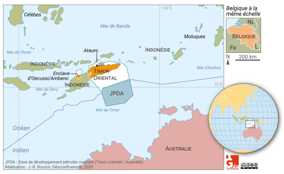 Carte Timor oriental frontières