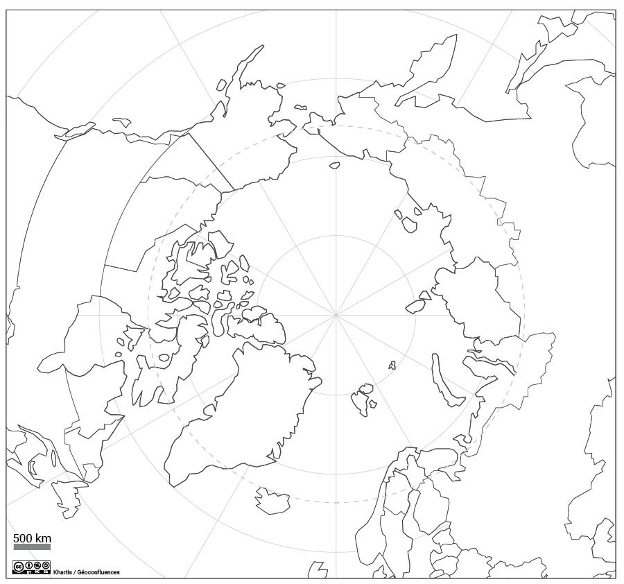 Fond de carte régions arctiques cercle polaire projection polaire
