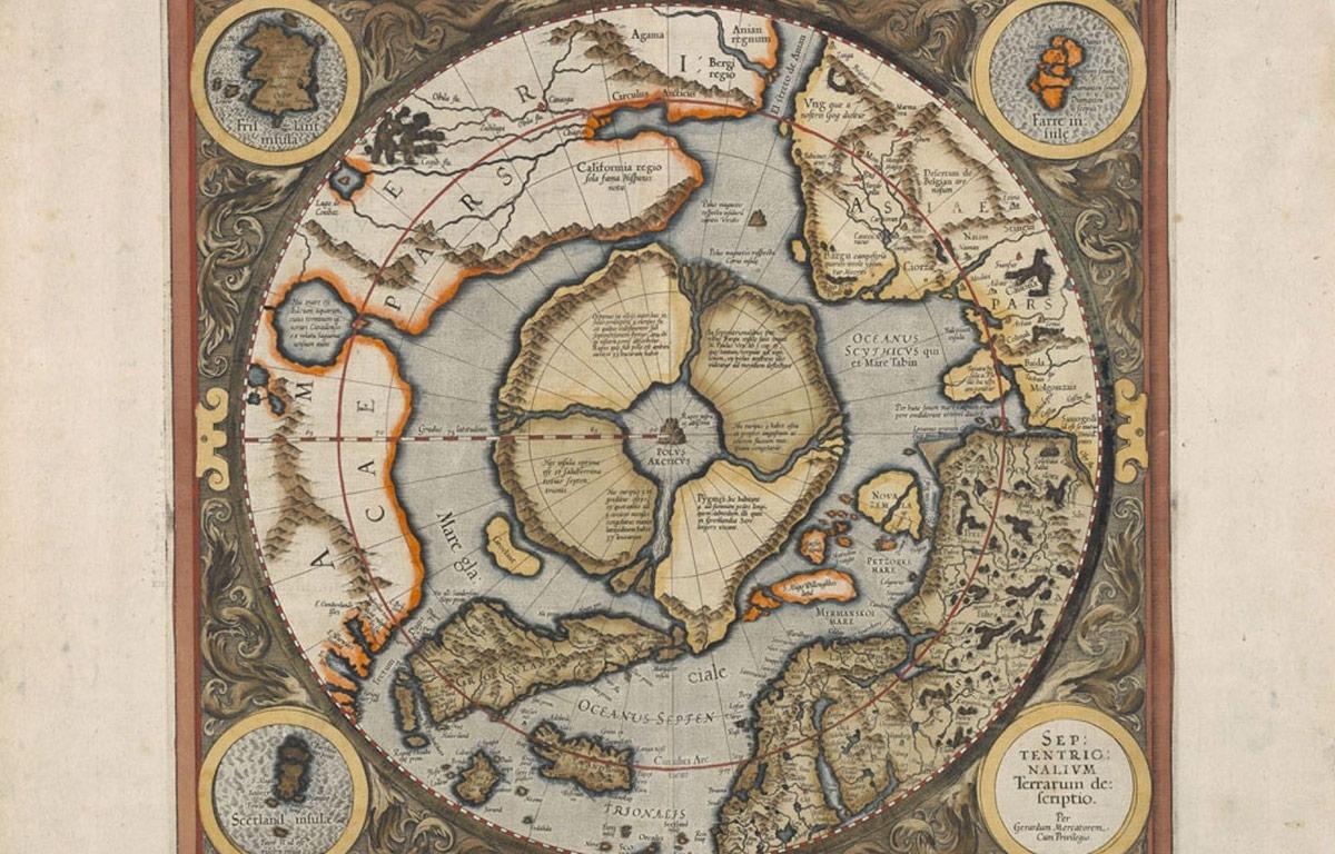 Mercator — carte de l'Arctique en projection polaire