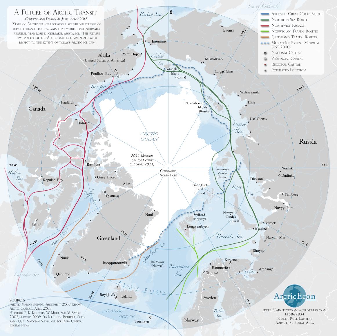 Futures routes arctiques d'après Arctic Econ