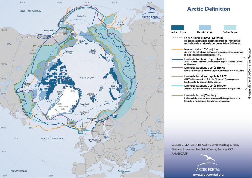 Définition de l'Arctique carte