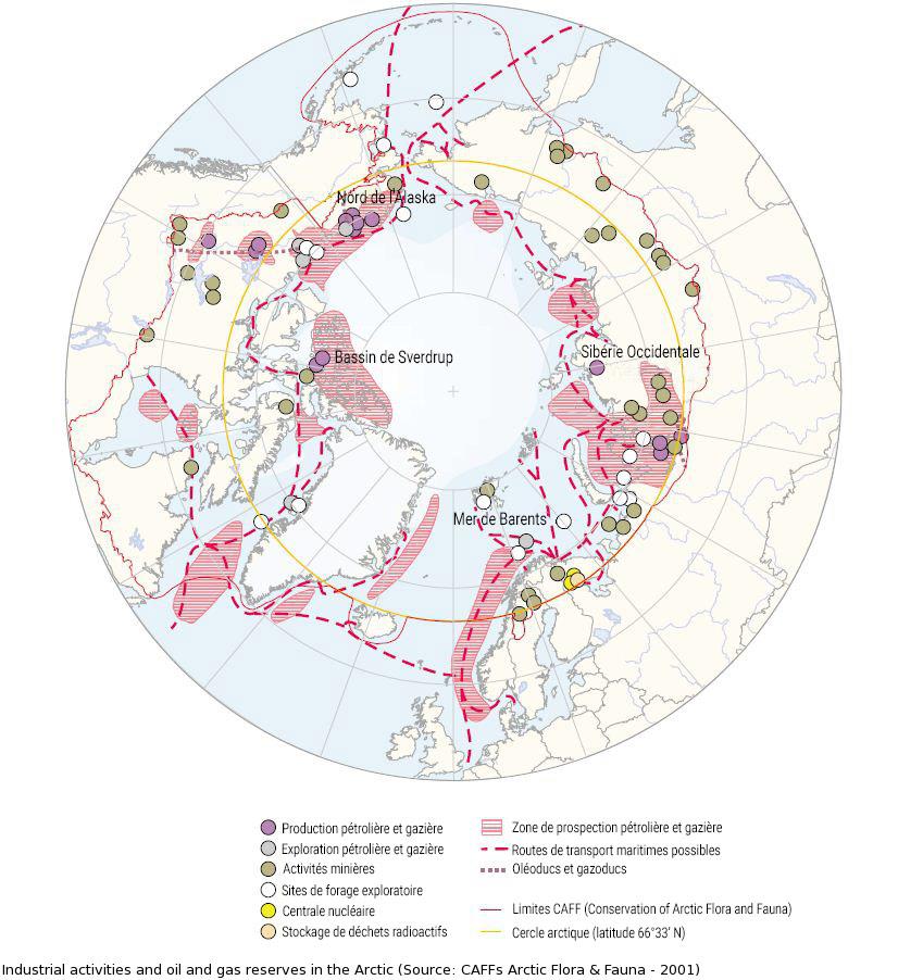 carte pollution déchets sites industriels arctique