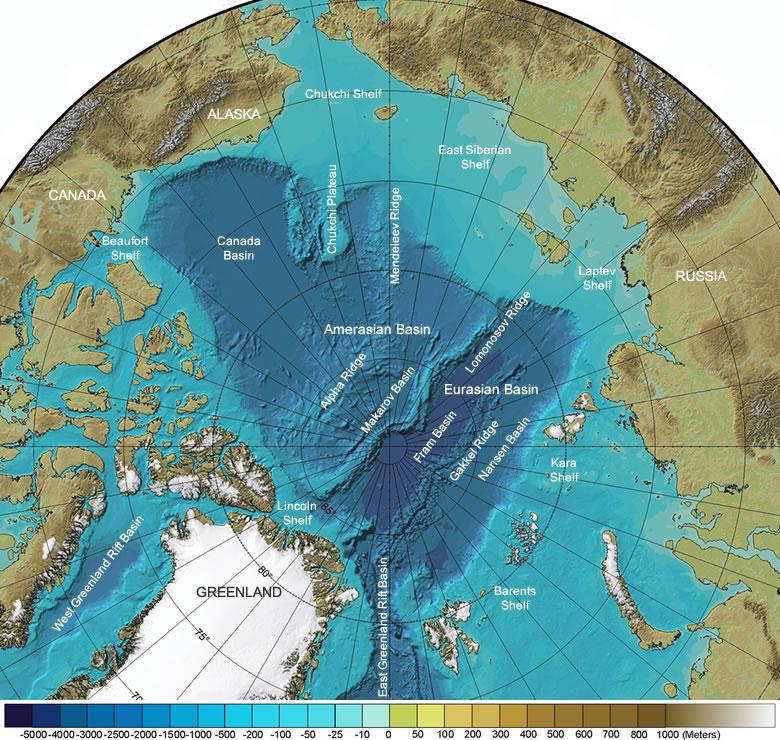 Frédéric Lasserre — carte physique fonds marins arctiques