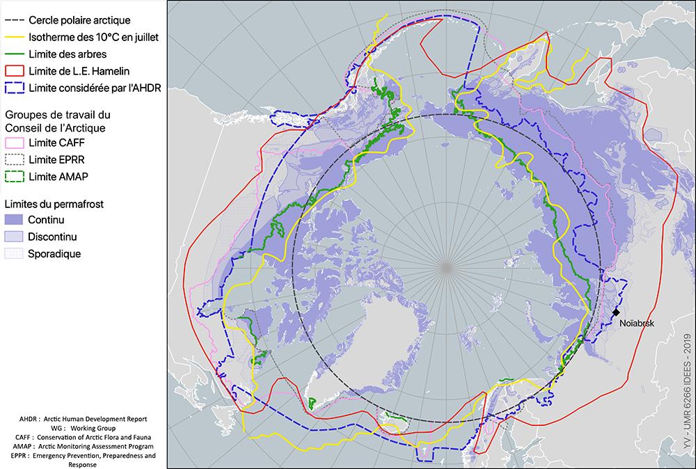 Limites de l'Arctique carte