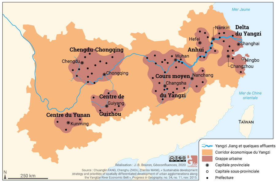 Corridor économique du fleuve Yangzi (Yang Tse Kiang) régions urbaines (grappes urbaines)