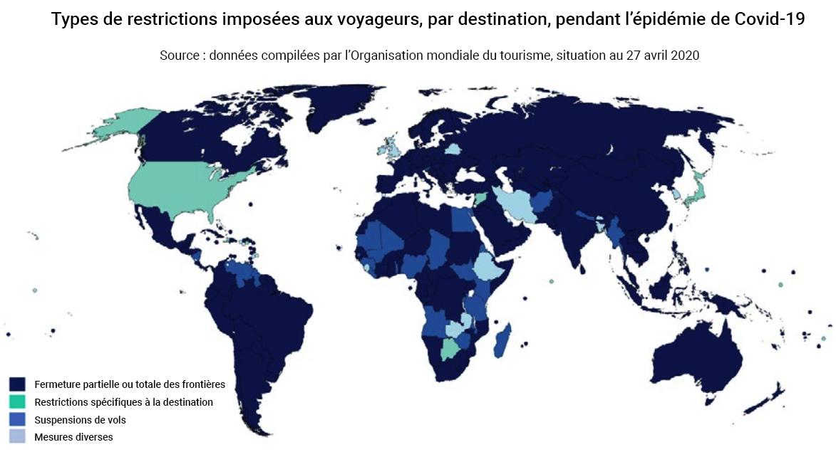 Carte restrictions aux voyages dans le monde