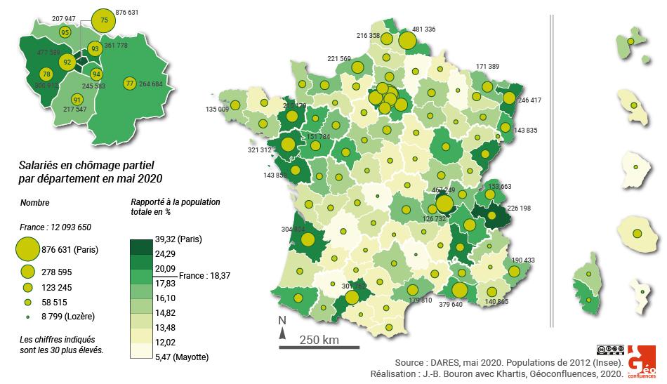 Chomage partiel en France pendant coronavirus par département carte