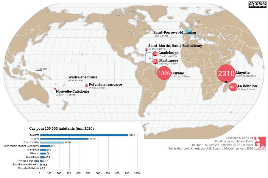 carte des cas covid-19 outre mer français