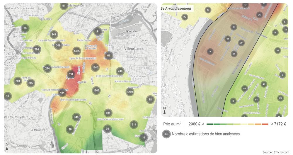 prix de l'immobilier à Lyon carte