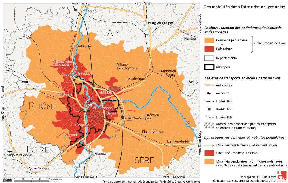 Atlas de Lyon — carte aire urbaine, villes centre, métropole de lyon, périurbain