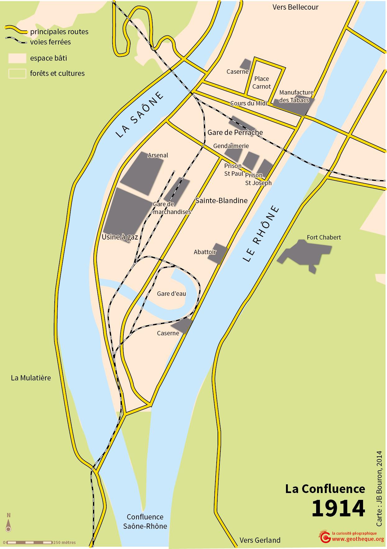 Atlas de Lyon — plan du quartier de La Confluence 1914