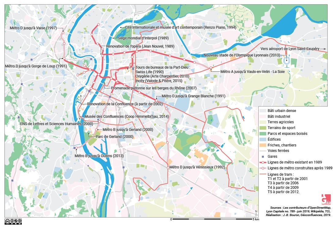 Atlas de Lyon — carte métropolisation, tours, aménagements 1989-2019