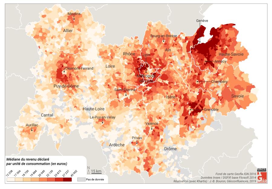 Atlas de Lyon — écarts de revenus auvergne rhône alpes par commune carte