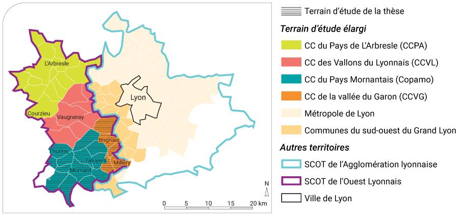 M. Amarouche — Carte localisation CC Arbresle Vallons du Lyonnais Pays Mornantais, Vallée du Garon, Métropole Lyon SCOT