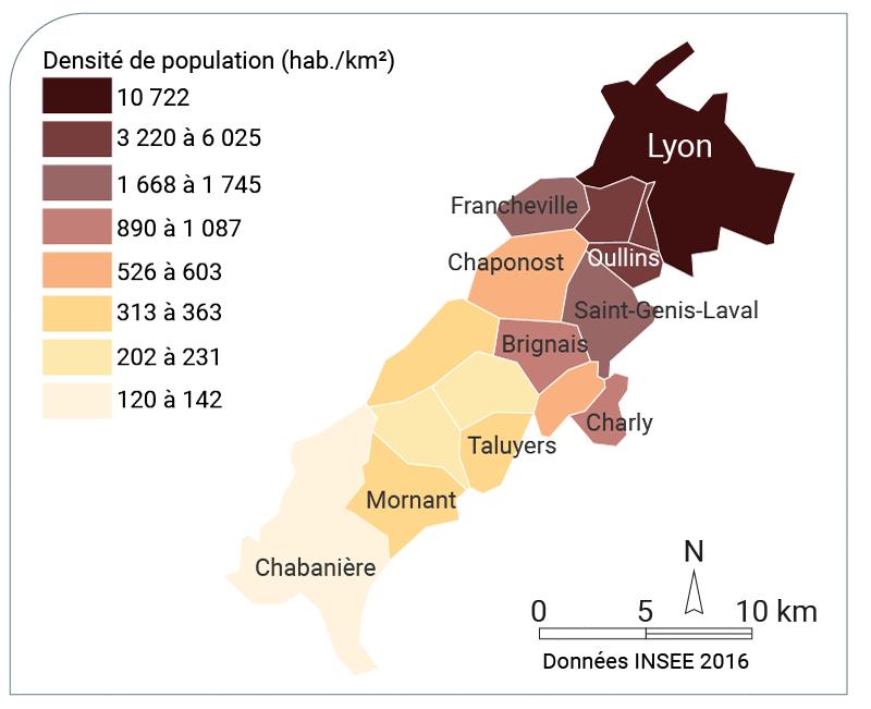 Maryame Amarouche — carte densité quelques communes Ouest lyonnais