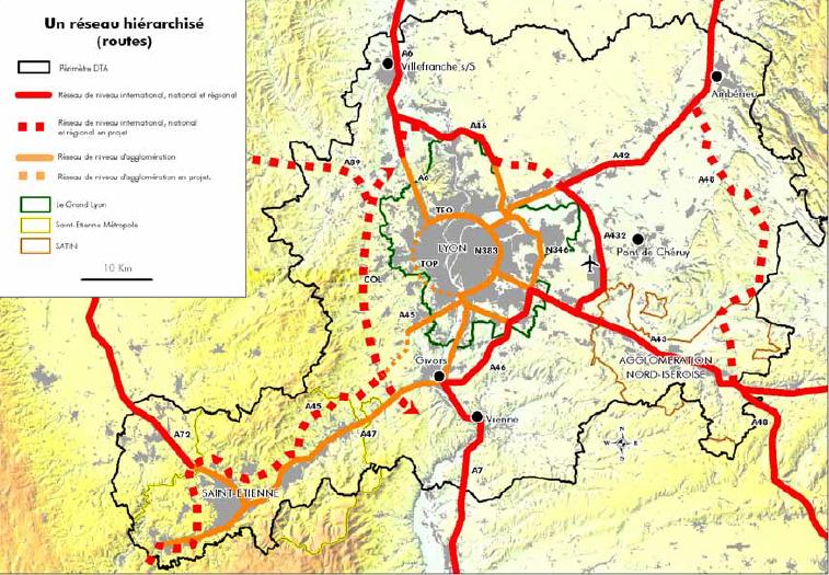 Réseaux routiers inscrits dans la DTA