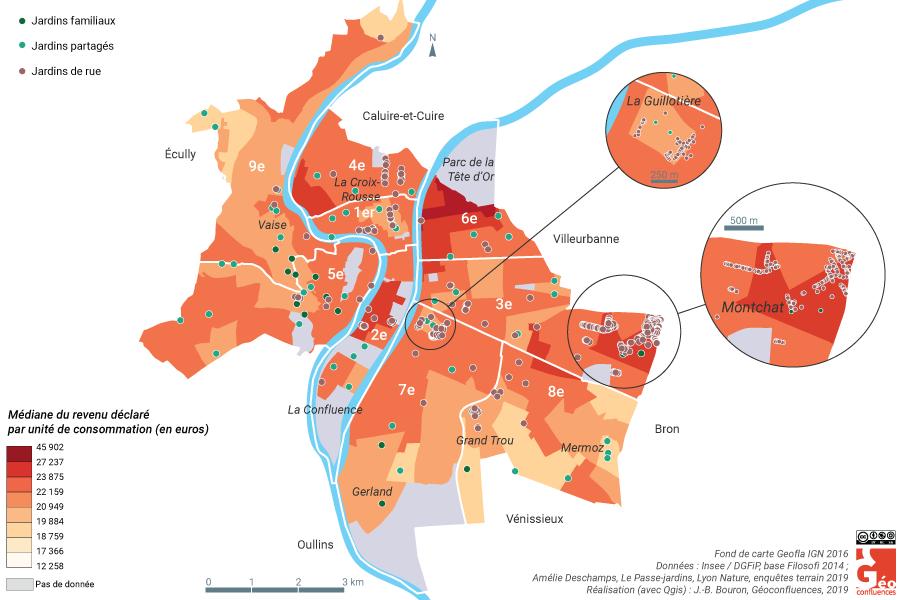 Amélie Deschamps — jardins et revenu médian des IRIS Lyon