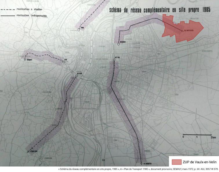 Antoine Lévêque — Schéma du réseau complémentaire en site propre, 1985