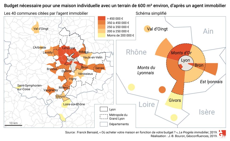 Carte immobilier prix d'une maison avec jardin dans l'aire urbaine de Lyon
