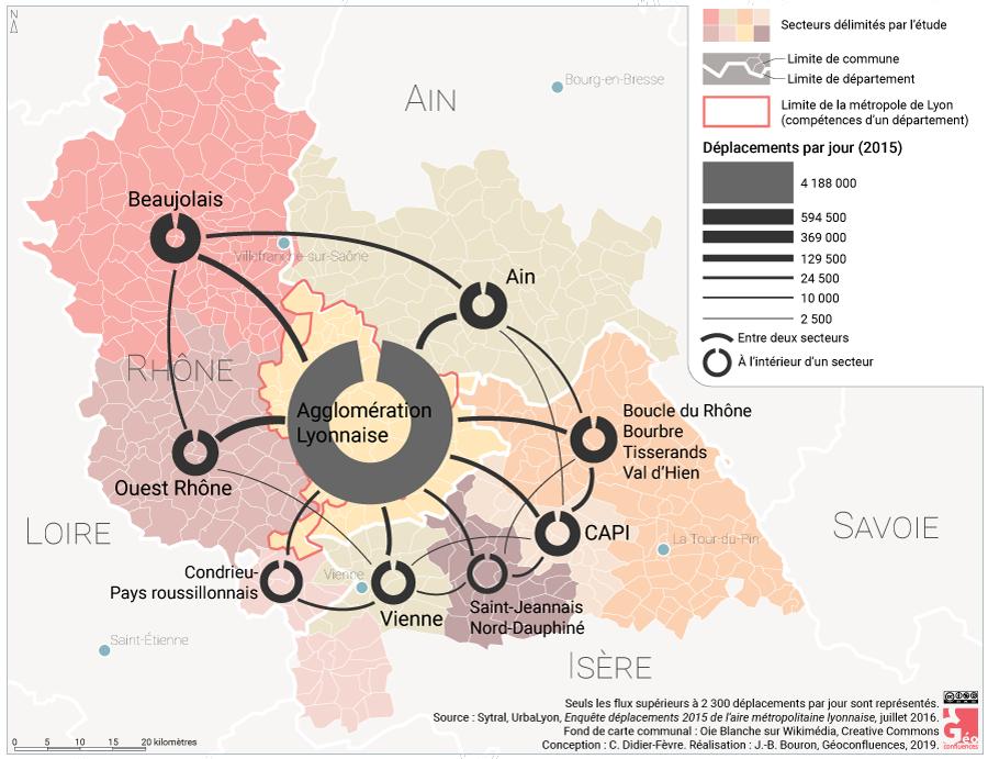 Carte déplacements mobilités aire urbaine de lyon métropole et périurbain
