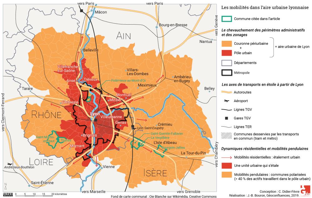 Carte Lyon aire urbaine métropole axes de transport périurbanisation croquis de synthèse