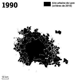Extension de l'aire urbaine de Lyon 1990