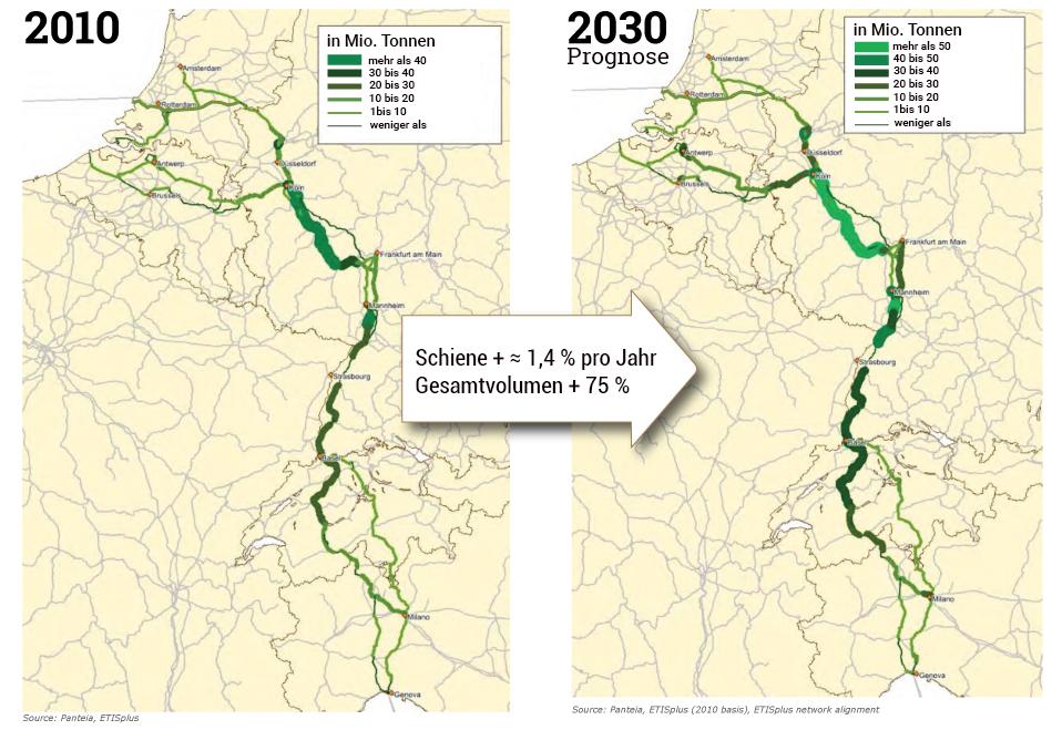 Trafic ferroviaire Rhin Alpes 2010 2030 Carte