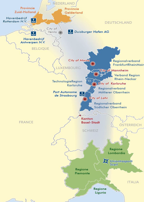 carte La structure de l'Interregional Alliance for the Rhine Alpine Corridor