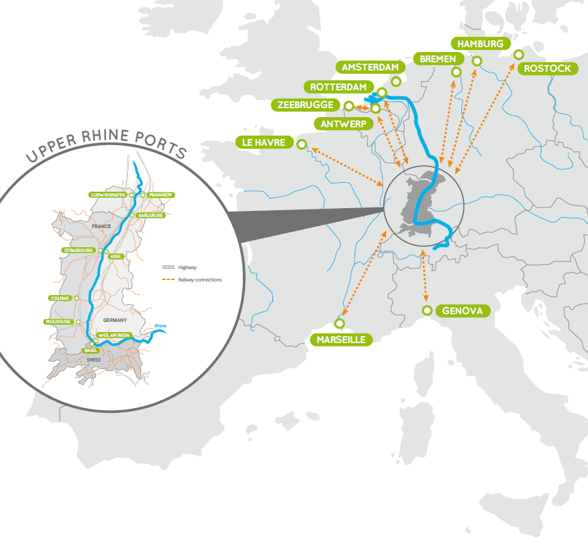 carte Upper Rhine Ports