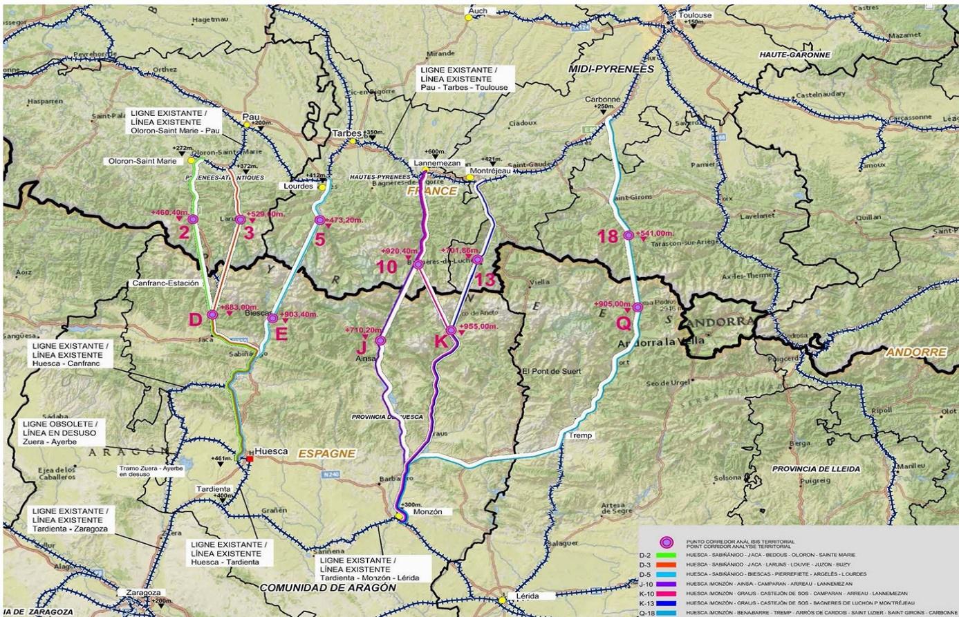 Tracés possibles LGV entre Nouvelle-Aquitaine et Aragon