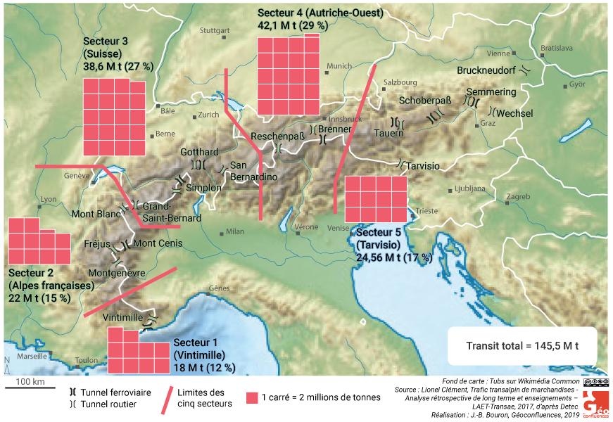 Carte trafic transalpin fret par secteurs en millions de tonnes