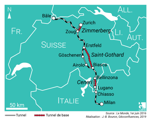 Carte localisation tunnel du Zimmerberg, Saint-Gotthard, Ceneri