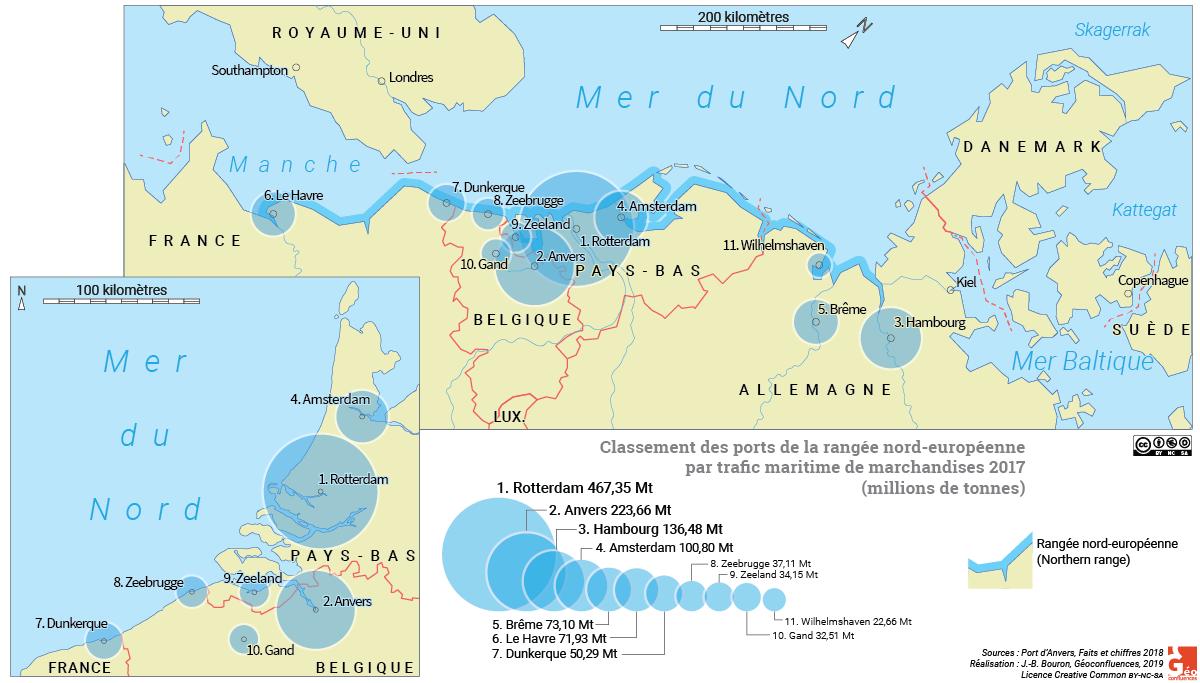Carte des ports de la rangée nord-européenne