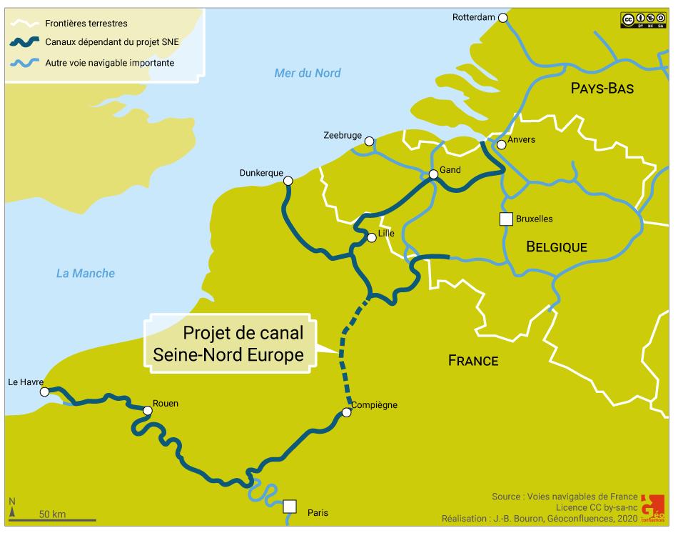 carte de localisation canal seine nord europe