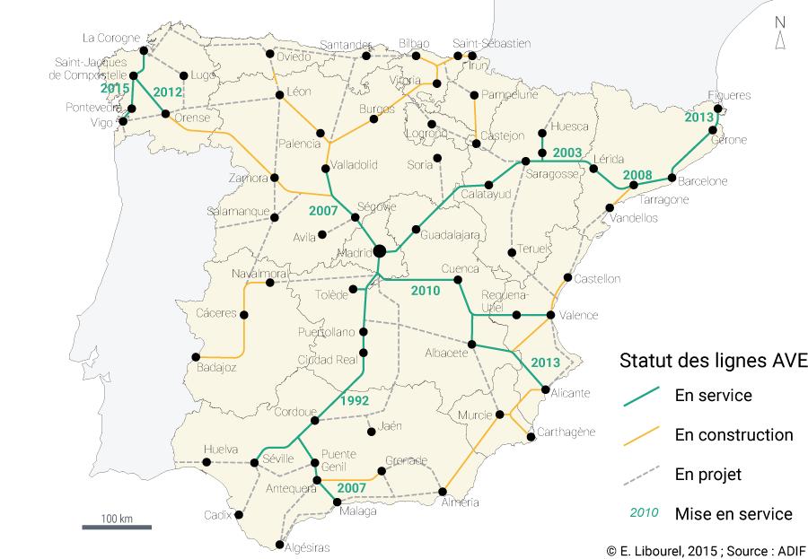Éloïse Libourel — Carte lignes à grande vitesse en Espagne