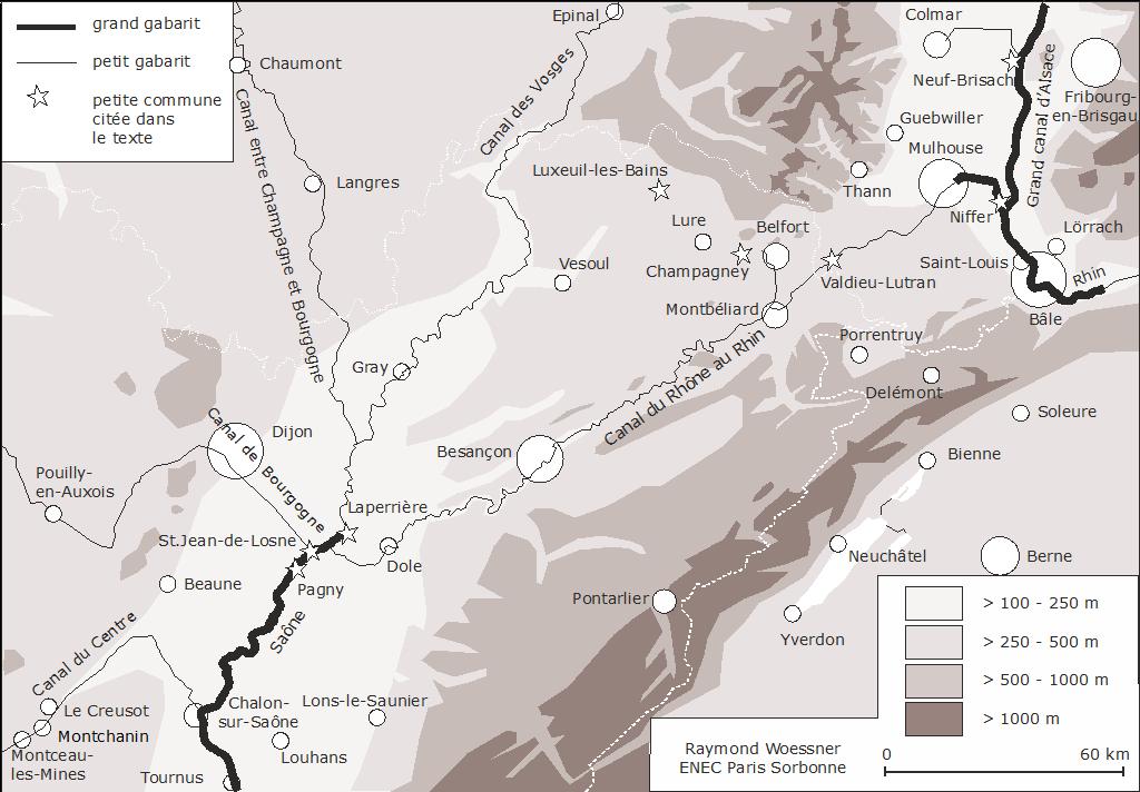 Raymond Woessner — carte localisation canal rhin saône