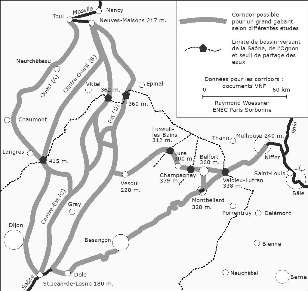 Raymond Woessner — Carte trajets alternatifs canal Rhin Rhône