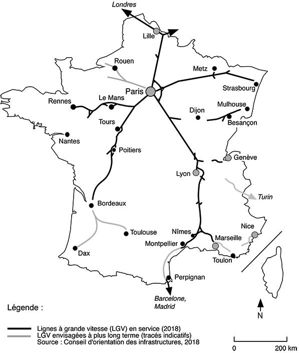 Geneviève Zembri — carte des lignes TGV en France (Lignes à Grande Vitesse, LGV)