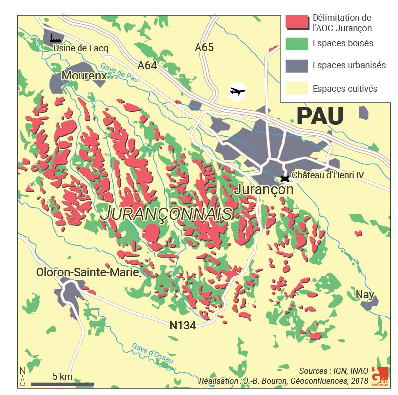 Carte de la délimitation de l'AOC Jurançon Pau