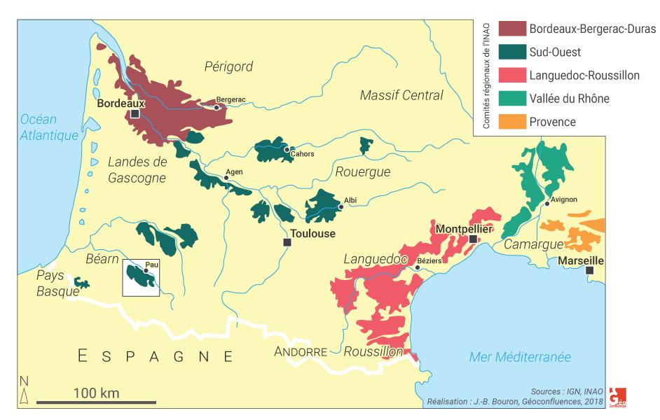 Les vignobles du Sud-Ouest en France (Bordeaux, Languedoc...) CARTE