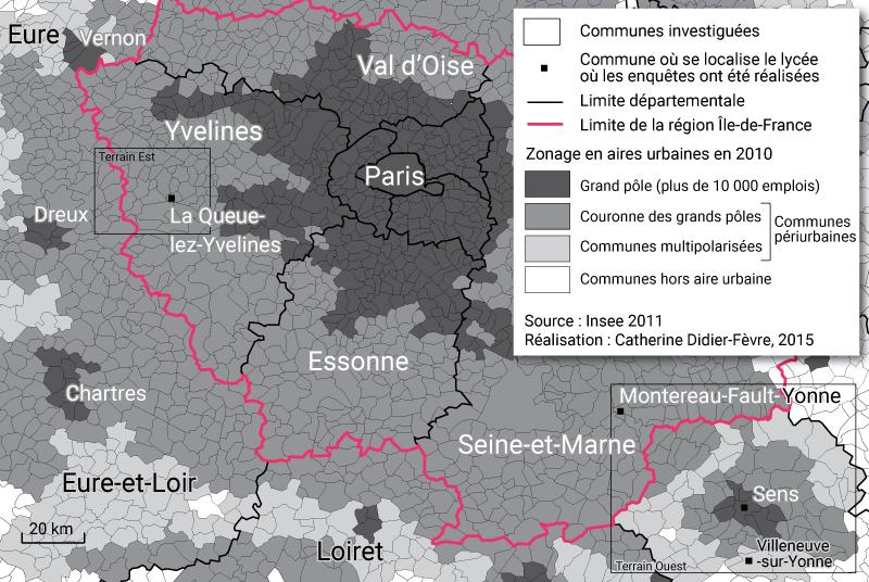 Catherine Didier-Fèvre – Carte zonage en aires urbaines et terrains en île de France
