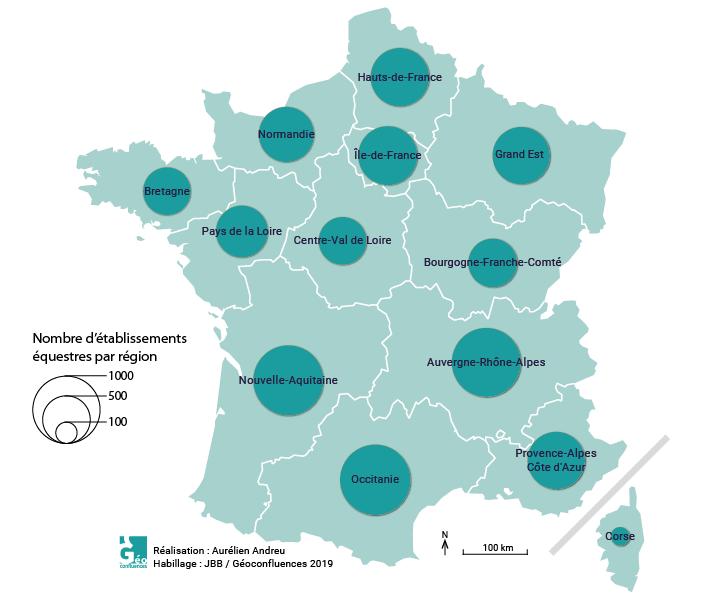 Carte établissements équestres par région France