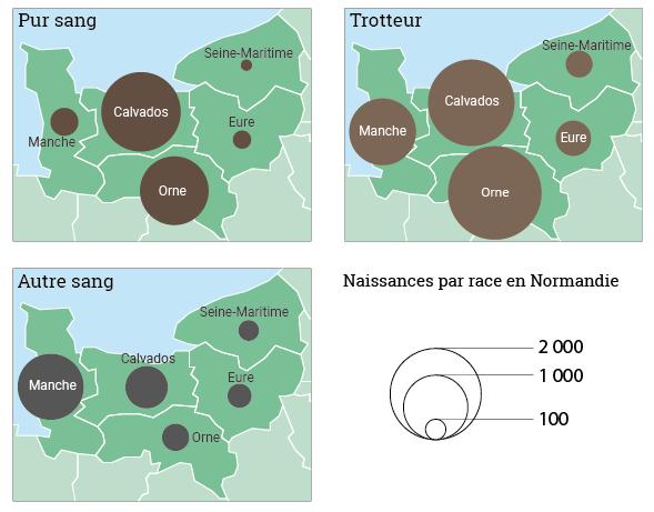 Maie Gerardot distribution spatiale des naissance des chevaux en Normandie