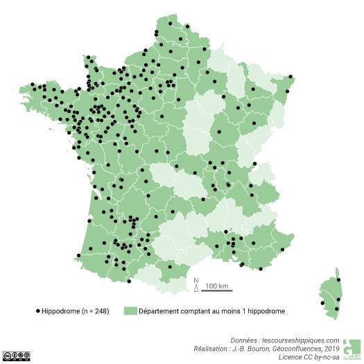 Carte des hippodromes en France
