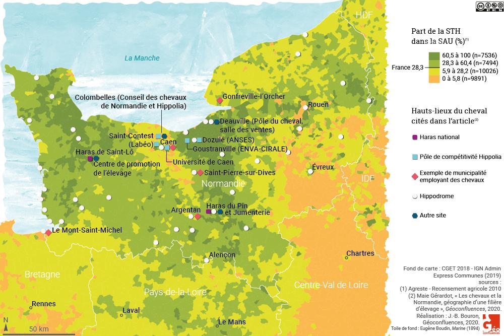 carte lieux du cheval en normandie