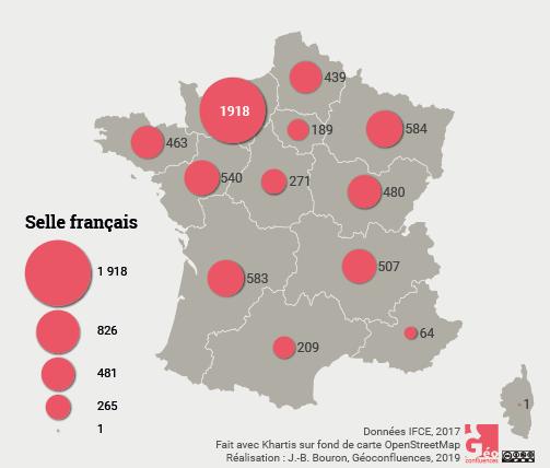 Maie Gerardot – Selle Français carte France naissances