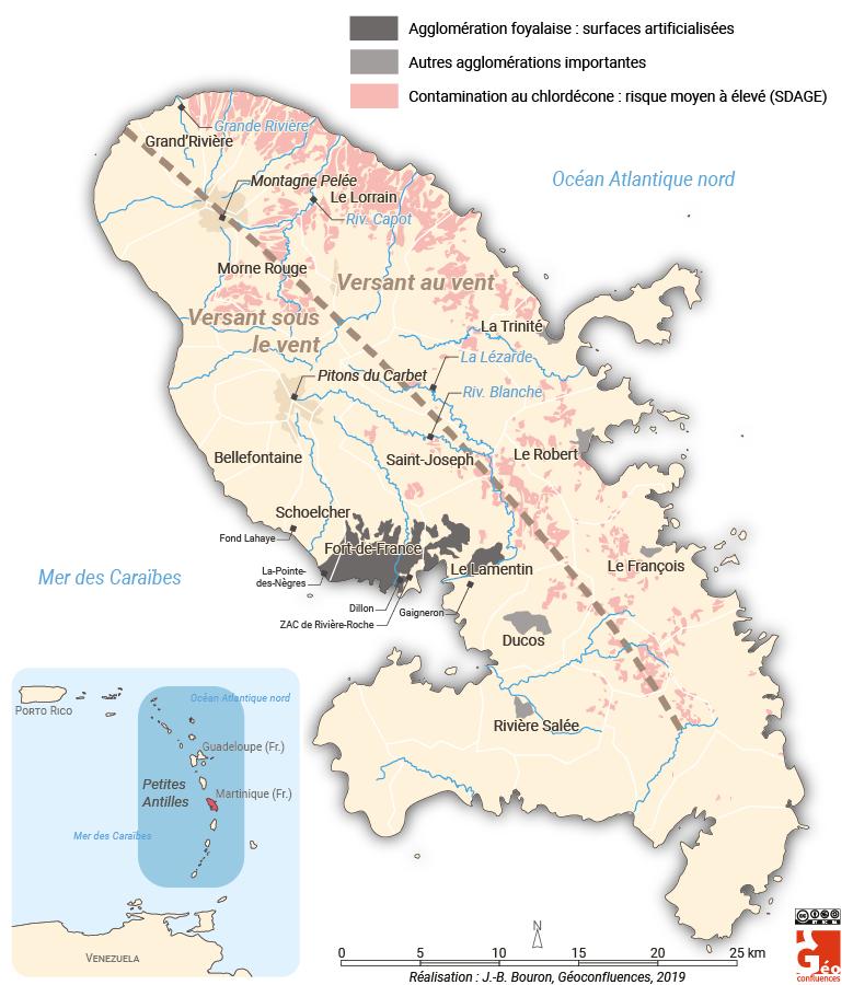 Martinique carte localisation chlordécone agglo foyalaise versant au vent sous le vent